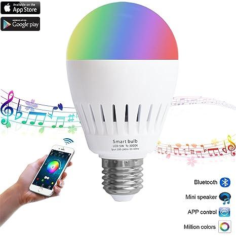 LED inteligente Música Bombilla con cambio de color RGB Bola de luz de altavoces Bluetooth altavoz