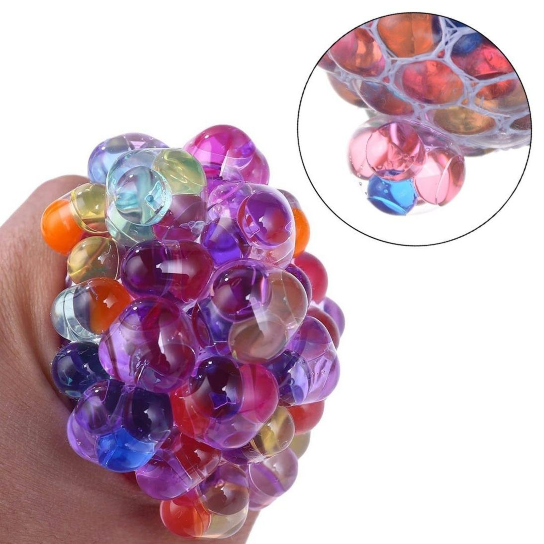 Dacawin Mesh Ball Stress LED Glowing Squeeze Grape Toys Anxiety Relief Stress Ball (Multicolor)