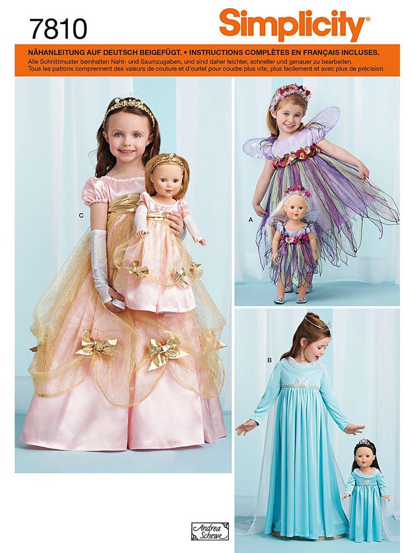 Semplicità modello Costumi S7810.A For Kids Bambole e Bianco Simplicity