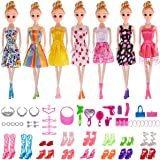 Total 56pcs - 7 Pack Barbie Clothes Dresses Accessory Party Grown Outfits Barbie Fashionista + 49pcs Barbie Accessories Shoes Bags Necklace Mirror Hanger Tableware for Barbie Doll Girl Birthday Gift