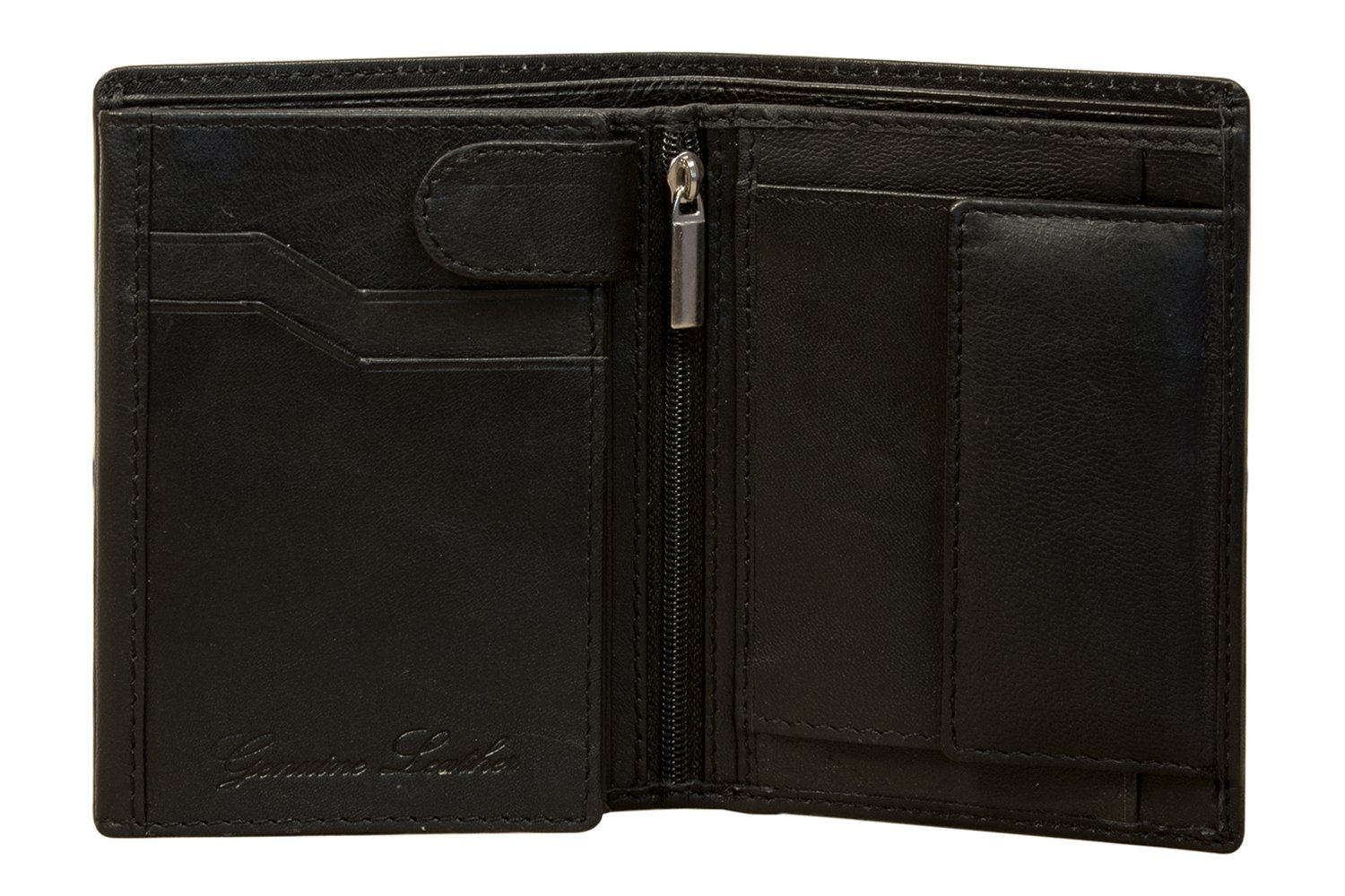 Sakkas UniSex Authentic Leather Tri-Fold Wallet with 9 Credit Card Slots with Gift Bag - Black