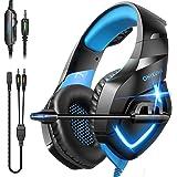Fone de ouvido para jogos ONIKUMA – Fone de ouvido para jogos sobre a orelha com microfone, cancelamento de ruído estéreo, fo
