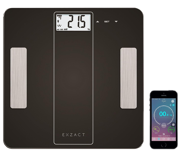 EXZACT - Bilancia Smart per l'Analisi Corporea/ Pesapersone Digitale / Elettronica Bilancia da bagno - Bluetooth 4.0 per Smartphone (iPhone iOS) - grasso corporeo / idratazione / muscoli / ossa - 180 kg / 400 lb (Bianca) Exerz Limited