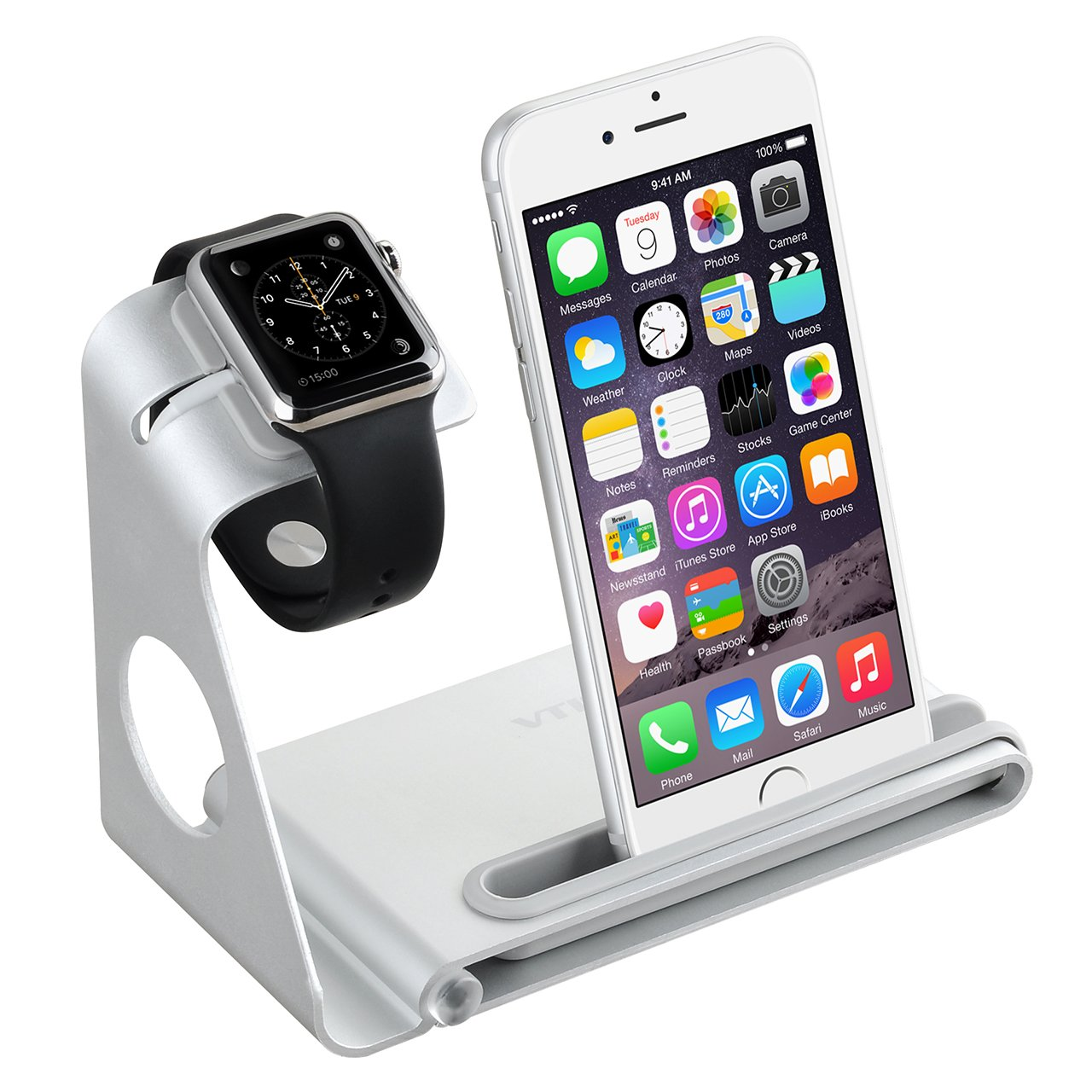 VTin DuoStand Charge Station/stand de Aleación de aluminio/ soporte del cargador / Desk Stand Cradle para Apple Watch 38/42 mm & iPhone o otros ...