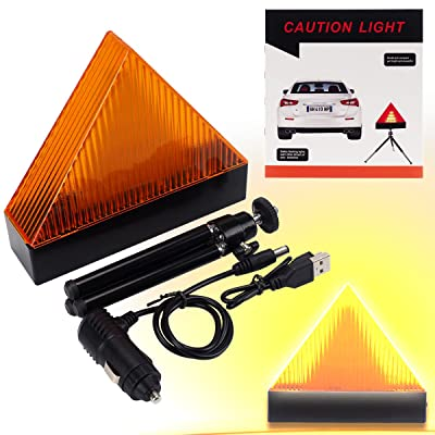 Road Safety Triangle Warning LED Light Kit, Magnetic Car Roadside Warning Reflector Roadside Sign Triangle Symbol with USB and Car Charger for Roadside Breakdowns Emergencies: Automotive