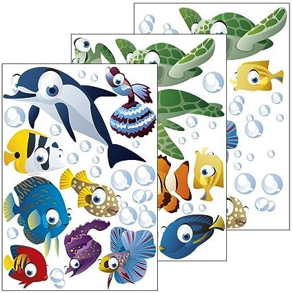 Wandsticker Unterwasserwelt / Fische / Ozean - Wandtattoo für Kinderzimmer  / Kinder / Badezimmer (Junge oder Mädchen) - 75-teiliges Set auch als ...