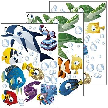Amazon.de: Wandsticker Unterwasserwelt / Fische / Ozean - Wandtattoo ...