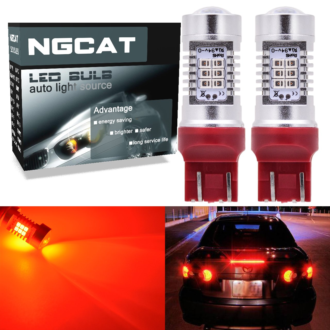 ngcat Auto bombilla LED 2pcs 7444 na 7440 7440 na 7441 992 T20 chipsets 2835 21 SMD LED Bombillas con proyector lente de freno intermitentes cola de copia de seguridad Reverse luces, rojo 10 – &nb