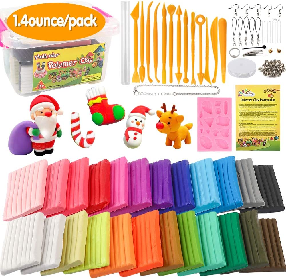 Holicolor Polymer Clay 24 Colors Oven Bake Modeling Clay (1.4oz per Pack) with Sculpting Tools, Roller, Jewelry Making Accessories, DIY Art Crafts Kit for Kids and Beginners