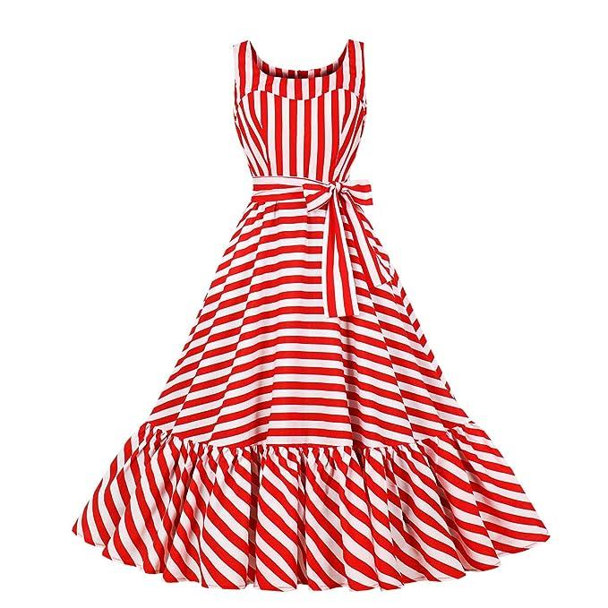 Saloon Girl Costume   Victorian Burlesque Dresses & History Wellwits Womens Stripes Summer Tank Sundress Ruffle Tea Length Vintage Dress $20.98 AT vintagedancer.com