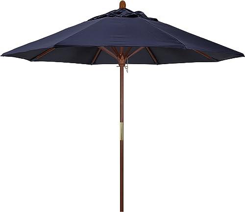 California Umbrella 9' Rd. Wooden Market Umbrella