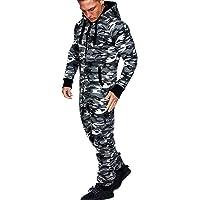 Amaci&Sons 3001 jumpsuit, onesie voor heren, camouflagepatroon, joggingpak uit één stuk