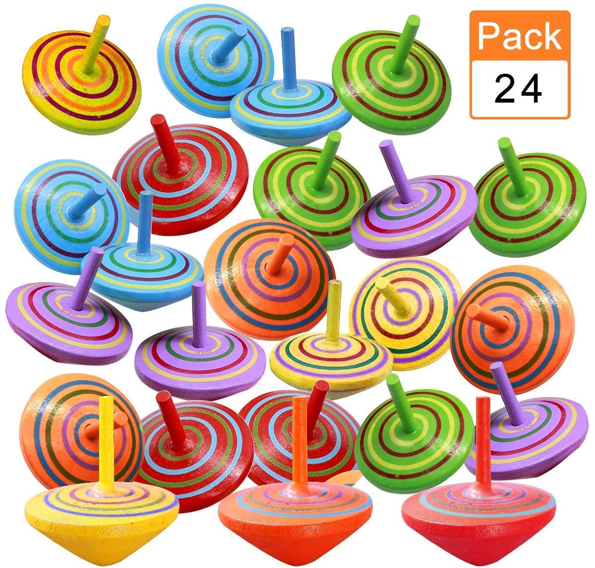 6 Colors ENCEEN 24PCS Spinning Tops Wooden Spin Top for Kids Party Bags Fillers