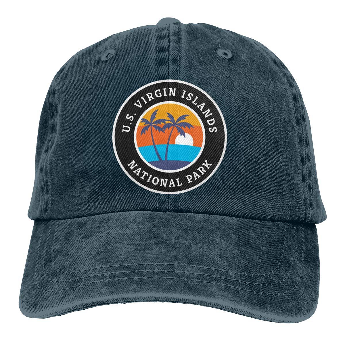 Men Women Vintage Denim Fabric Baseball Cap Virgin Island National Park Hiphop Cap