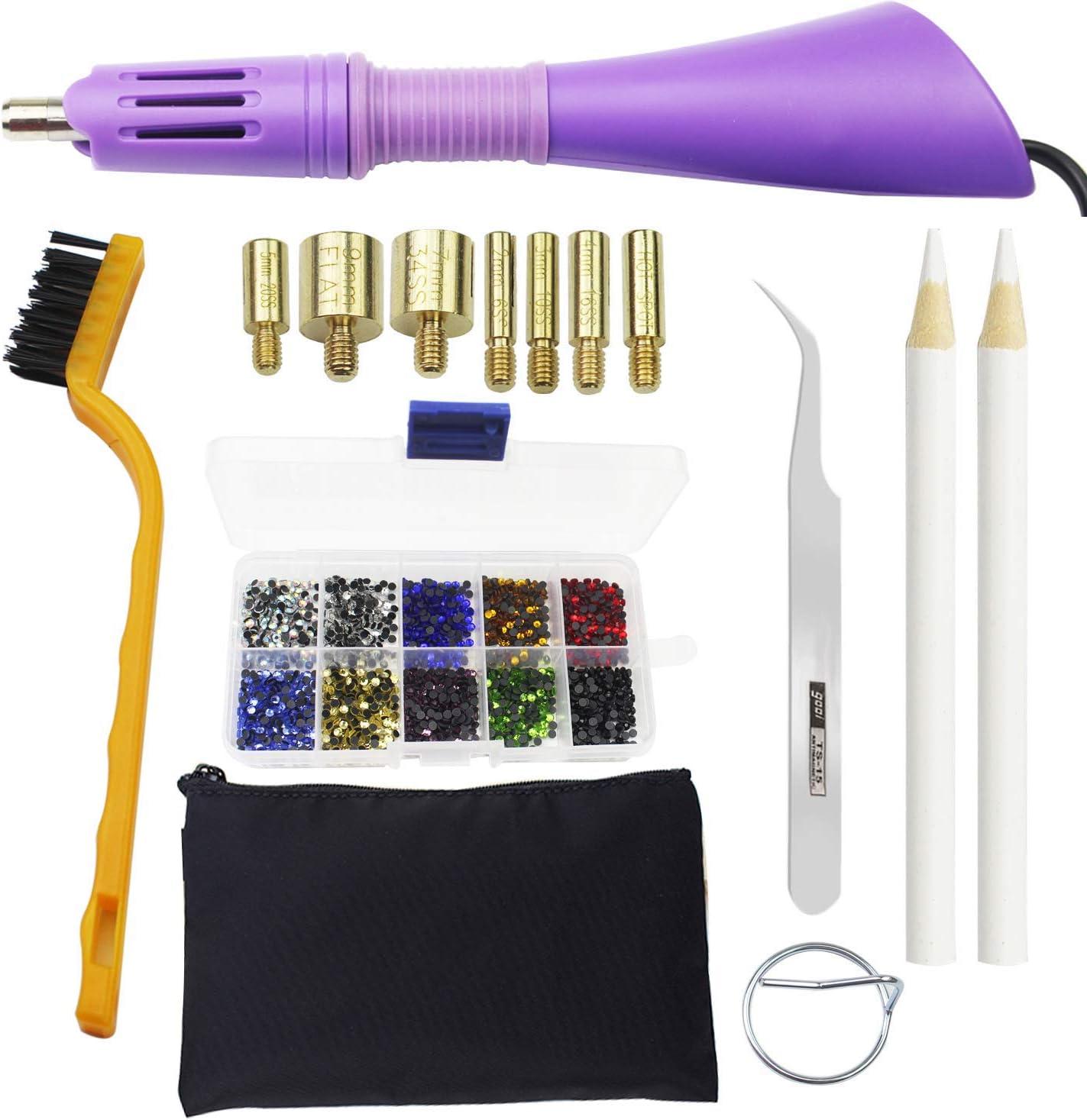 Hotfix Applicator Wand Tool with 7 tips and Kit DIY  2000pcs Rhinestones Crystal