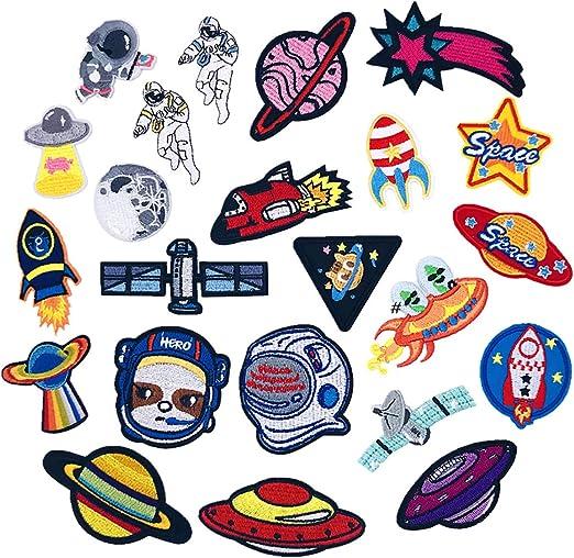 Patch Sticker 23 Piezas Parches Ropa Termoadhesivos Astronauta Nave Patrón Pegatina de Parche para Camiseta Chaquetas Mochilas Jeans Bolsas: Amazon.es: Hogar