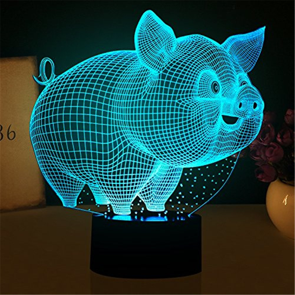 YKL WORLD Pig Light 3D Led Illusion Lamp Night Lights Kids Nursery, Desk Table Lamps Bedroom Decor, 7 Color Changing Touch Lights Lover Children Birthday Gifts Toys