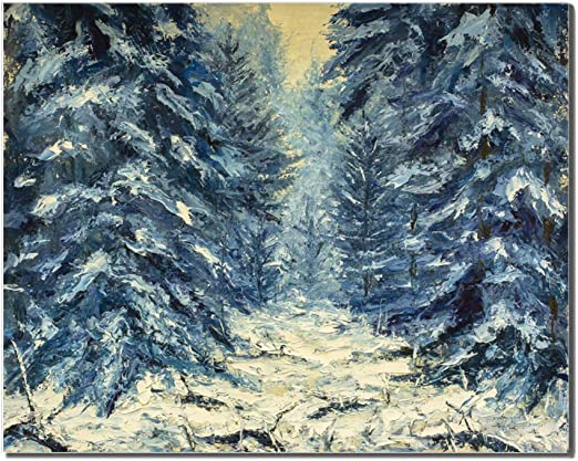 Forest Mountain Snow Oil Painting Re-Print Framed Canvas Wall Art Pictures Deco
