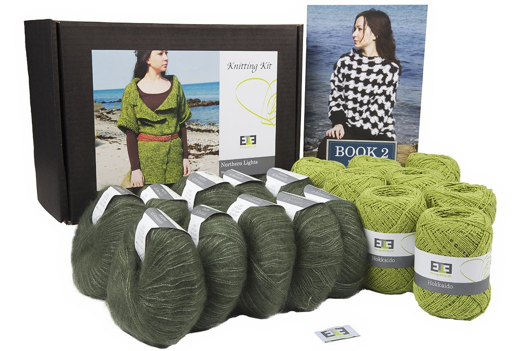 DesignEtte Crochet Kit, Northern Lights, Raw Silk and Super Kid Mohair/Silk, XS, Green Flash/Olive s-9314GFOXS