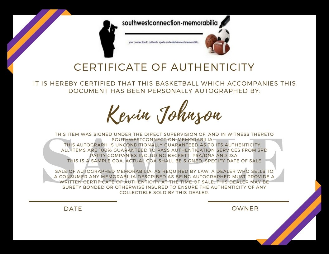 Sample certificate of basketball image collections certificate phoenix suns kevin johnson autographed hand signed nba spalding phoenix suns kevin johnson autographed hand signed xflitez Choice Image