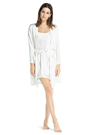e3a6feeb1 Fishers Finery Women s 100% Pure Mulberry Silk Lounge Robe  Pockets (Ivory
