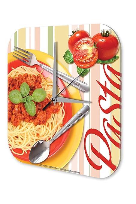 Reloj De Pared Trotamundos Marke Salsa de los fideos de pasta de tomate Plexiglas Imprimido 25x25