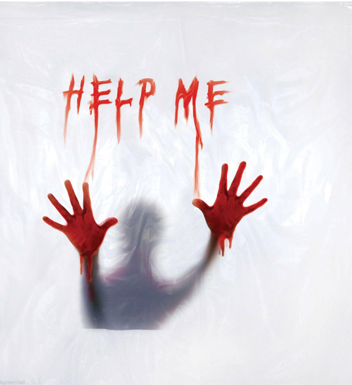 Amazon Deluxe Psycho BLOODY HELP ME SHOWER CURTAIN Halloween Bathroom Prop Decoration Kitchen Dining