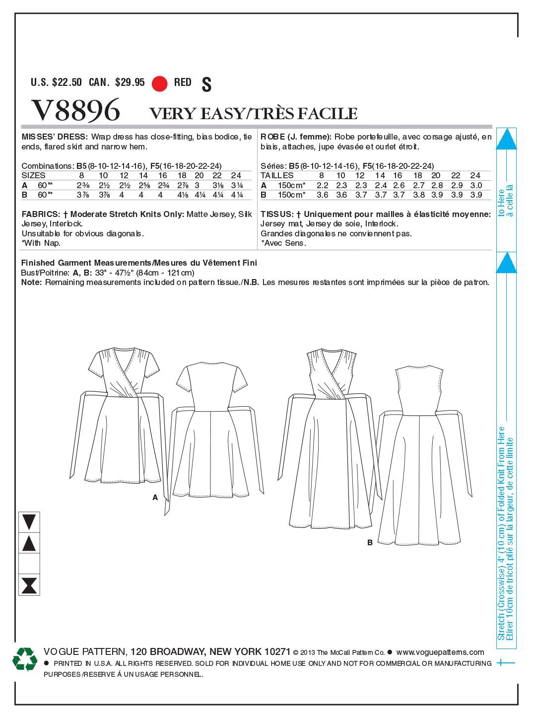 Vogue V8896 - Patrones de costura para vestidos de mujer (2 modelos ...
