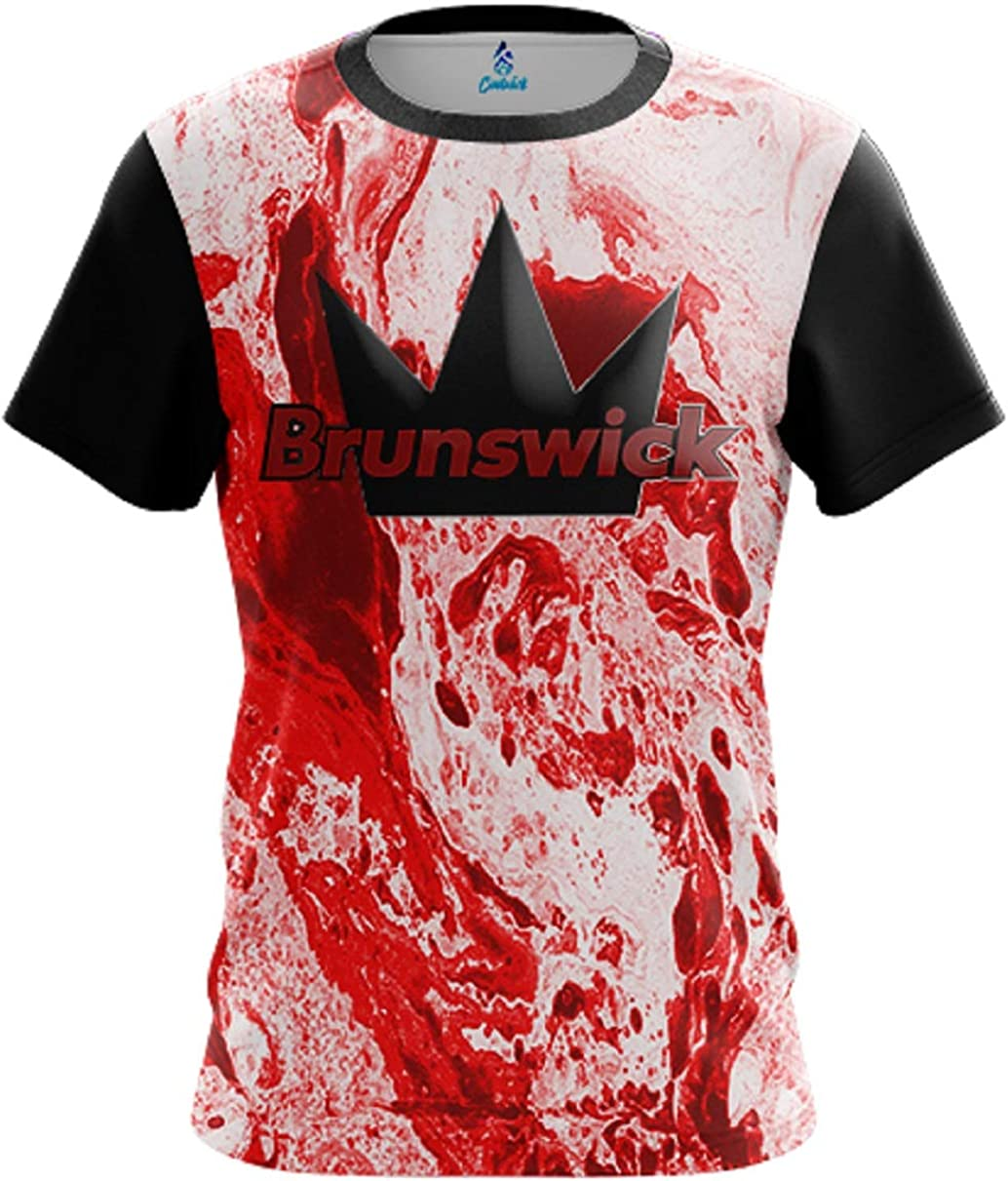 CoolWick Mens Brunswick Marble Red Bowling Jersey