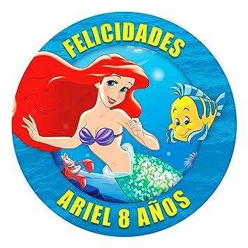 OBLEA de Papel de azúcar Personalizada, 19 cm, diseño de Disney La Sirenita: Amazon.es: Juguetes y juegos
