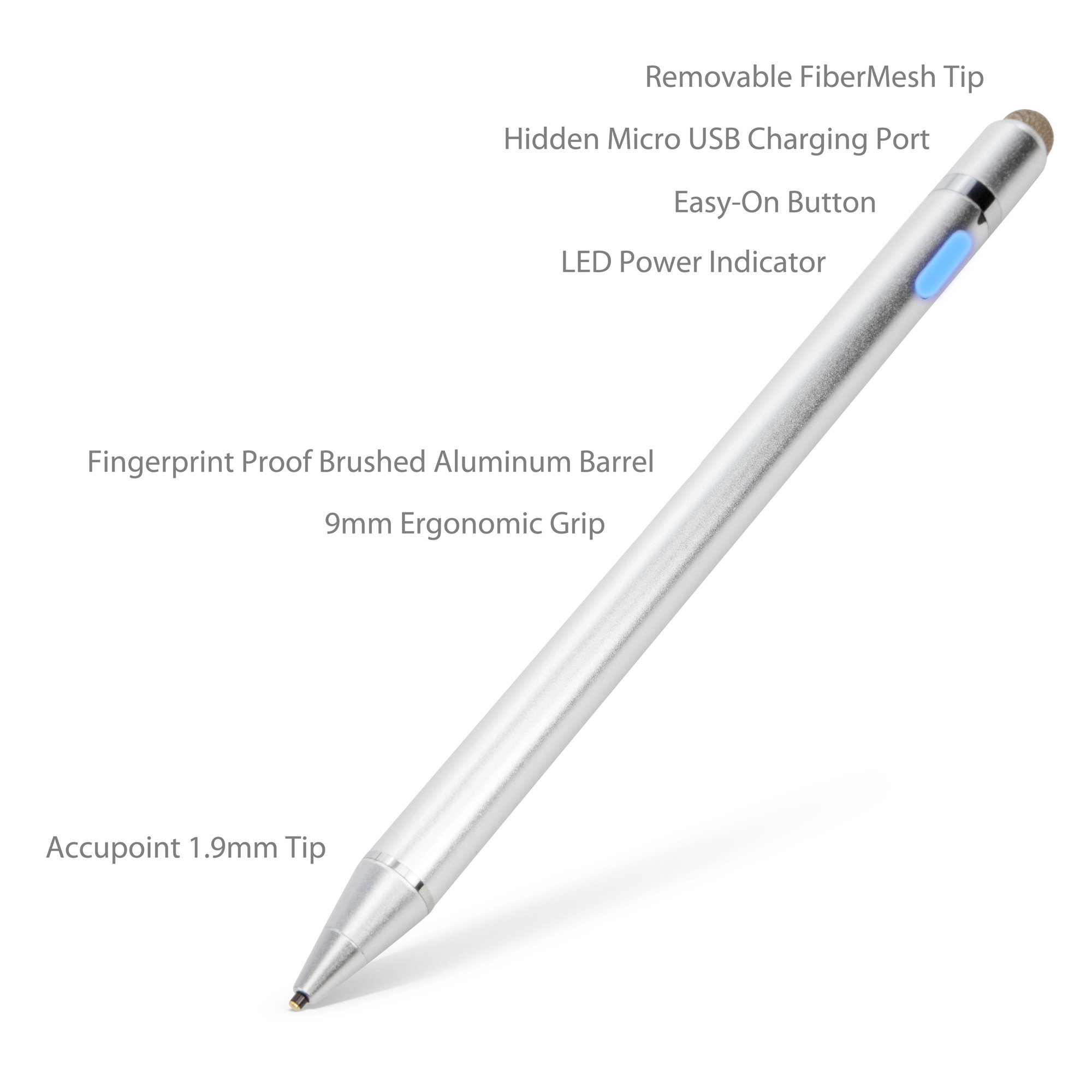 iPad Pro 10.5 (2017) Stylus Pen, BoxWave [AccuPoint Active Stylus] Electronic Stylus with Ultra Fine Tip for Apple iPad Pro 10.5 (2017) - Metallic Silver by BoxWave (Image #3)