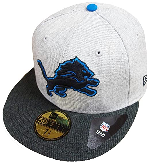 timeless design a432d 5c7fb New Era Detroit Lions Heather Grey Black NFL Cap 59fifty 5950 Fitted  Basecap Kappe Men Special Limited Edition  Amazon.co.uk  Clothing
