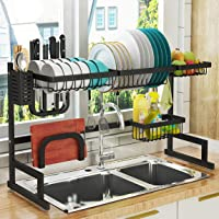 """Over Sink(24""""-40"""") Dish Drying Rack, Adjustable Cutlery Holders Drainer Shelf for Kitchen Supplies Storage Counter…"""