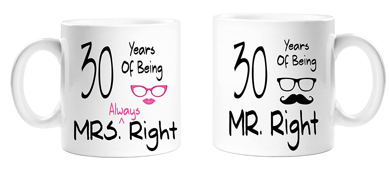 30 Years Of Being Mr Right & Mrs Always Right Novelty Anniversary Gift Mugs -30th Anniversary - Couples Mug Set - Perfect Gift for Christmas, Anniversary Top Sale