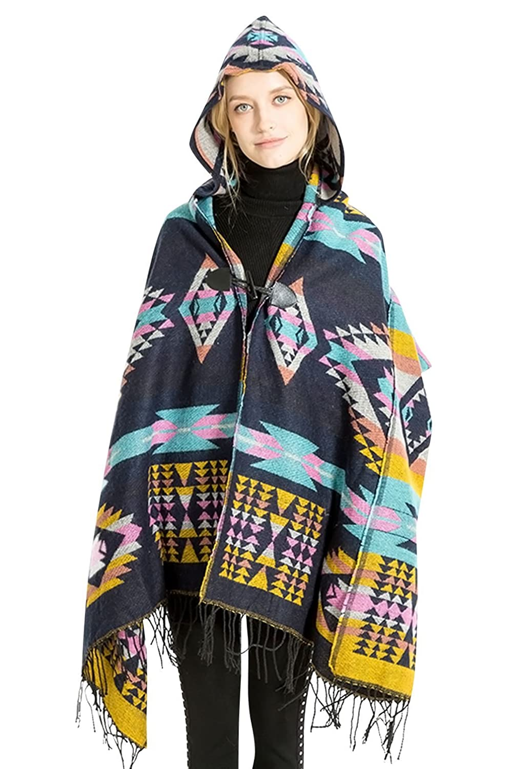 Girls Winter Poncho Hooded Cardigan Coat Bohemian Patterns Fringed Wrap Shawl Cape for Evening Gowns FEOYA