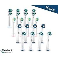 Oralteck 16 piezas - Cabezales de cepillos de dientes eléctrico compatibles con Oral B. Surtido de 4 modelos. Cross Action, Floss Action, Precision Clean y Dual Clean