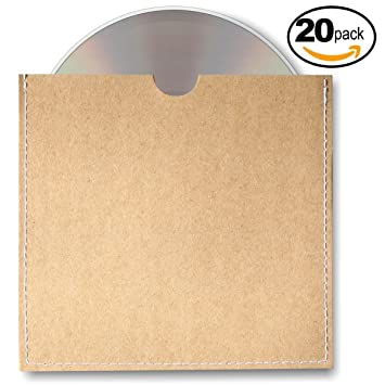 Amazon.com: Home Affinity Stitched CD Sleeves Brown Kraft Paper ...