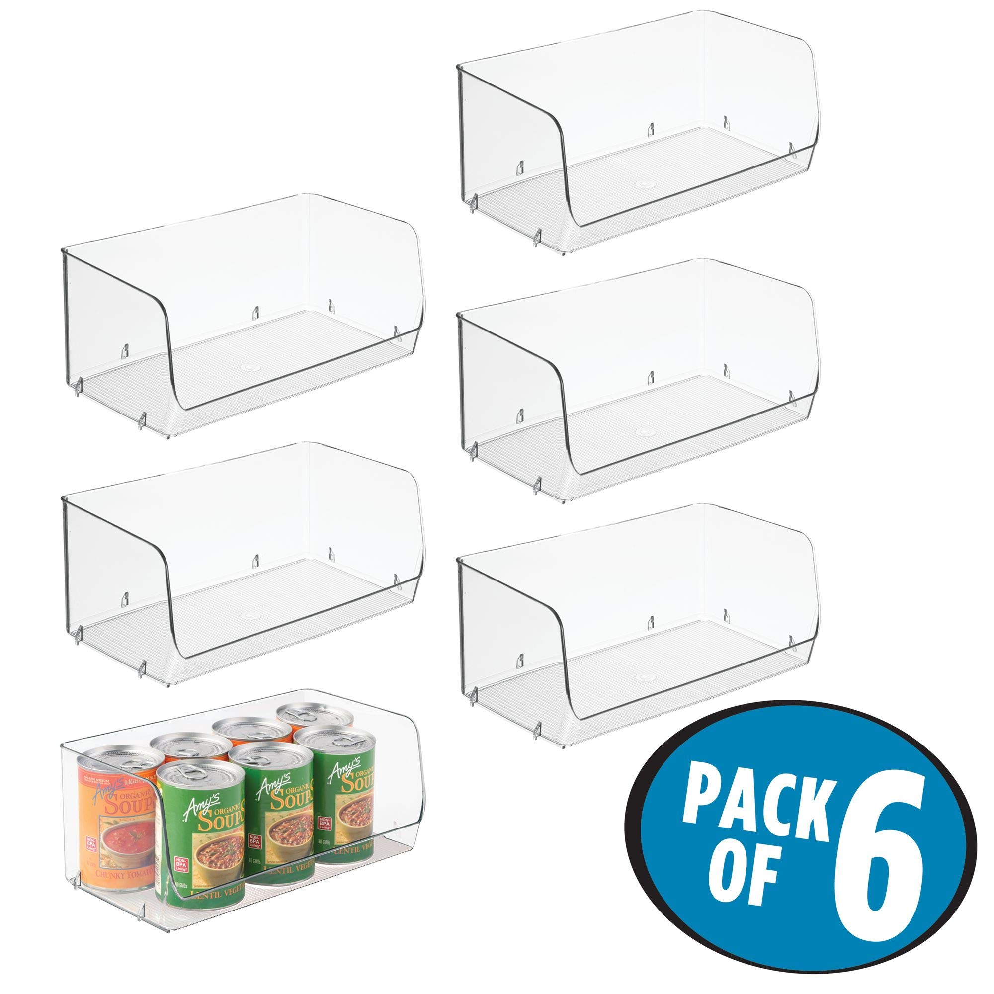mDesign Household Stackable Plastic Storage Organizer Bin Basket with Open Front for Kitchen Cabinets, Pantry, Offices, Closets, Bedrooms, Bathrooms - 12'' Wide, Pack of 6, Clear by mDesign (Image #2)