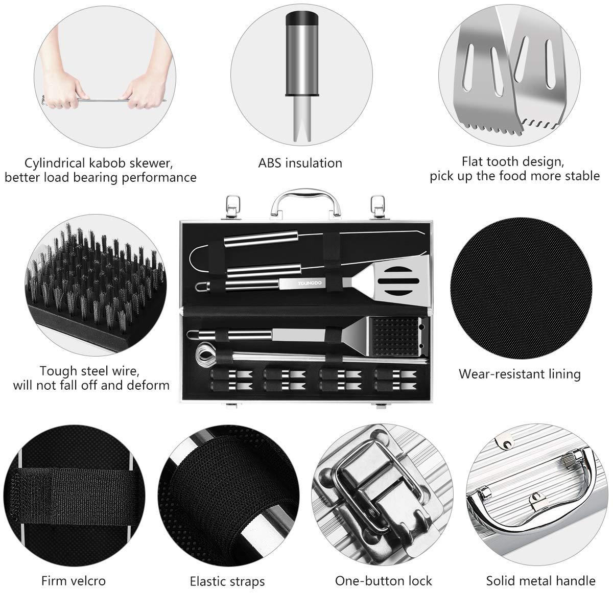 utensilios barbacoa, 20 Piezas Kits de Acero Inoxidable en Caja de Aluminio, Para Fanáticos de la Barbacoa, Cocineros, Entusiast de los Campamentos: ...