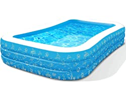 10Ft x 6Ft x 21In Family Inflatable Swimming Pool, Full-Sized Rectangular Inflatable Pool for Adults Kids Kiddie (Age 3+), Ea