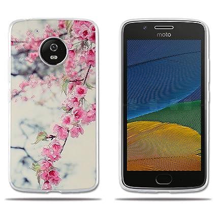 FUBAODA Funda Motorola Moto G5,Carcasa Protectora de Silicona Diseño de Flores de Colores Vivos,Resiste a los Arañazos,Carcasa Completamente ...