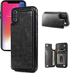 iPhone X/XS Wallet Case, iPhone X/XS Case with Credit Card Holder, JOYAKI Slim PU Leather Case with Card Slots, Protective Case with a Screen Protective Glass for iPhone X/XS 5.8 inch-Black