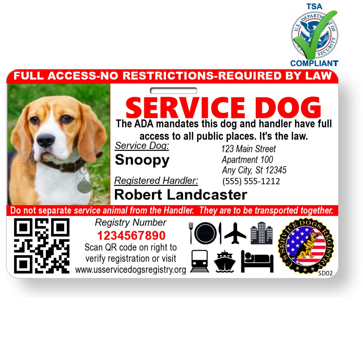 Just 4 Paws Custom Holographic QR Code Service Dog ID Card with Registration to Service Dogs Registry with Strap - Landscape Style