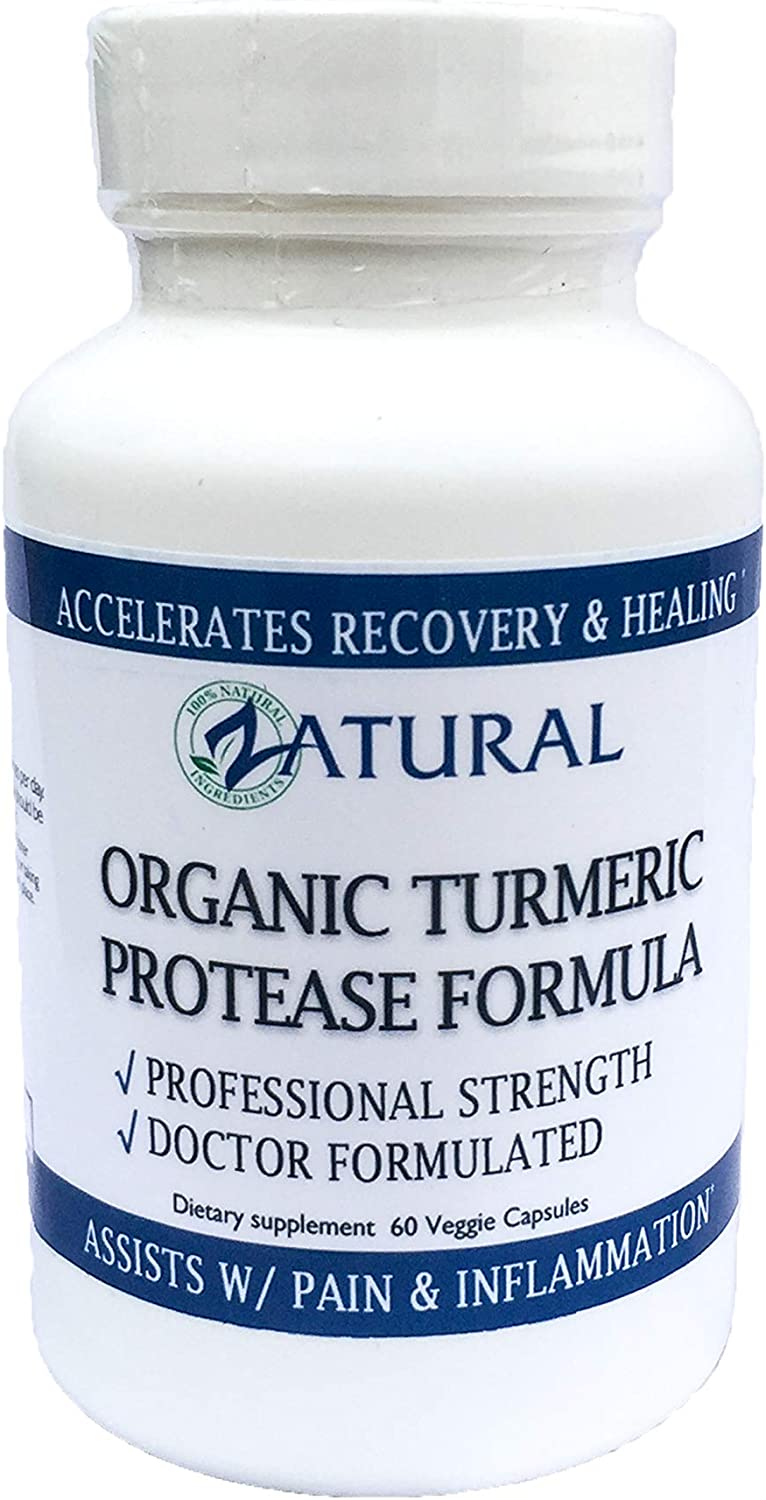 Recovery w Turmeric Advanced Protease. Doctor Formulated. Promotes Healing. Assists Pain and Inflammation. Non-GMO, Vegan, 0 Fillers. Made in The USA Buy 3 Bottles Get One Free