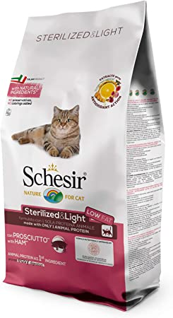 Schesir, pienso para Gatos Adultos esterilizados, línea Light con jamón, croquetas - Formato Bolsa de 10 kg: Amazon.es: Productos para mascotas