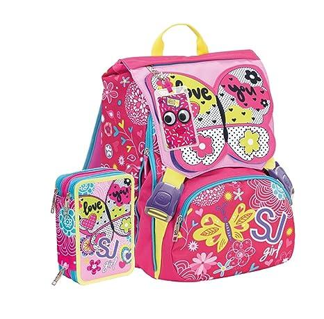 vasta selezione di d9f56 1b40e Schoolpack Zaino Scuola Estensibile Seven SJ Gang Girl Farfalla + Astuccio  3 Zip
