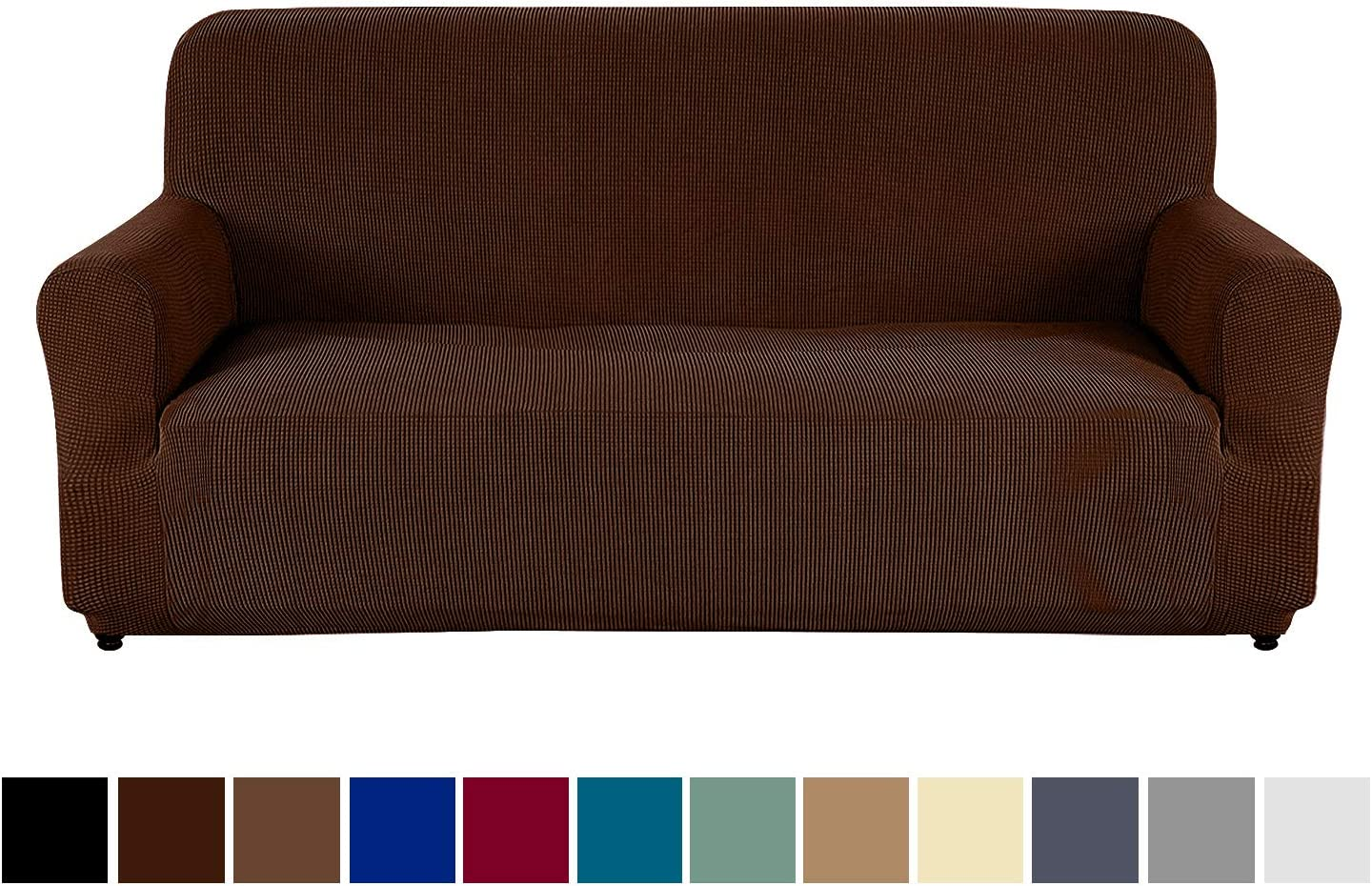 AUJOY Couch Cover Stretch 1-Piece Sofa Slipcover for 3 Cushion Couch Jacquard Spandex Fabric Furniture Protector with Anti-Slip Foams (Sofa, Dark Coffee)