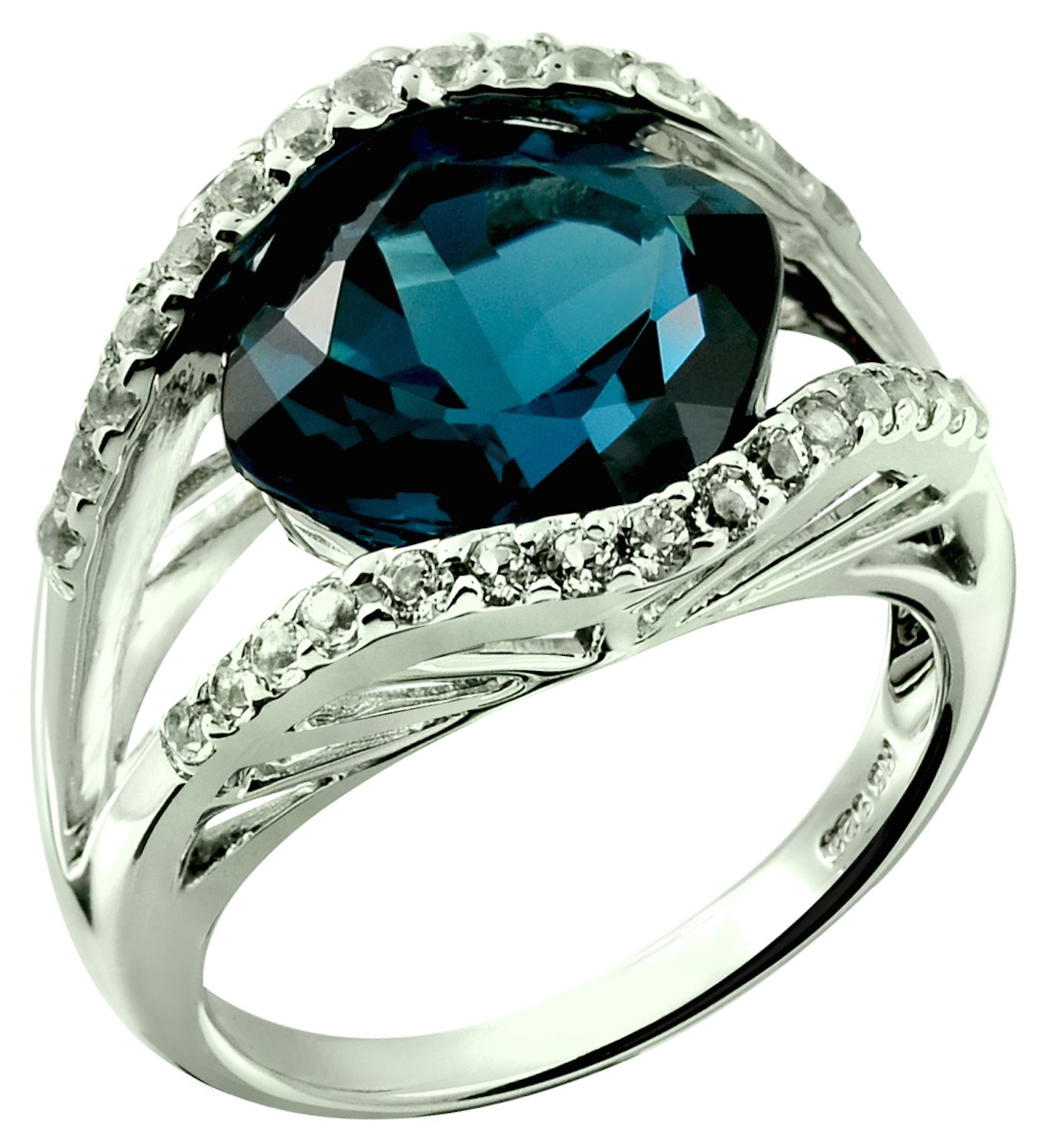 Sterling Silver 925 STATEMENT Ring GENUINE LONDON BLUE TOPAZ 7.62 Carats with RHODIUM-PLATED Finish (8)