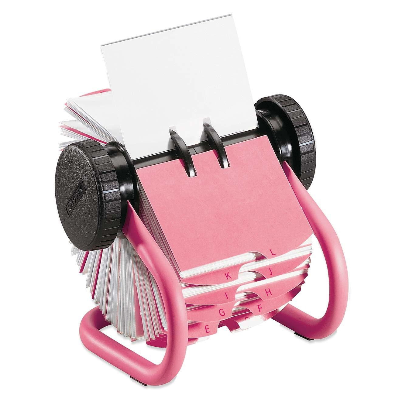 Rolodex Pink Metal Rotary Business Card File, 400 2-5/8 Inches x 4 Inches Card Capacity (55577)