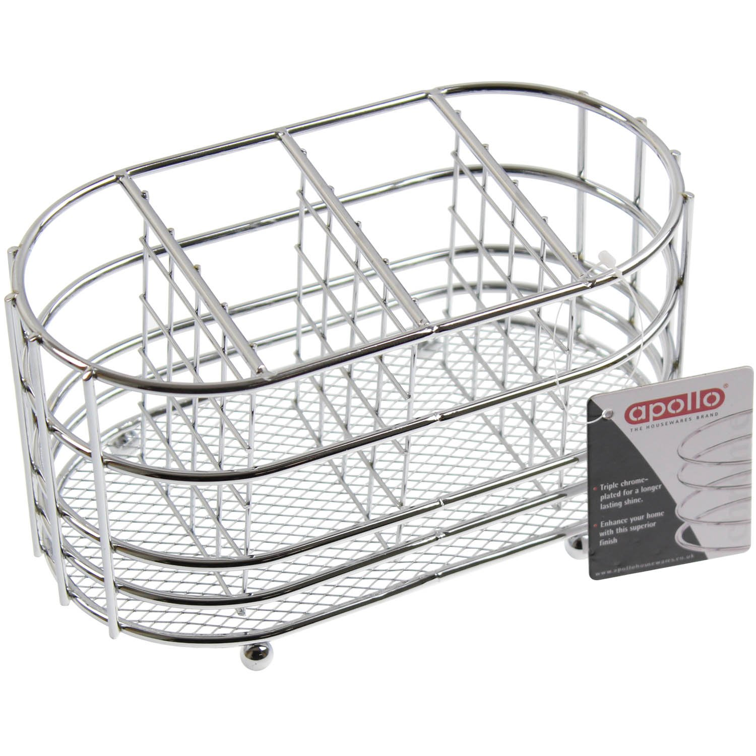 APOLLO 5661 - Chrome Cuttlery Caddy Oval in Chrome Apollo Housewares